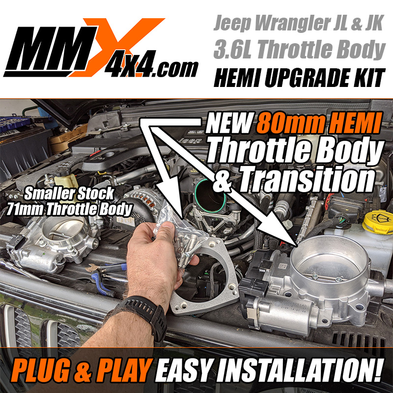 HEMI 80mm Throttle Body and Adapter to Pentastar V6 Intake Manifold Kit by MMX4x4