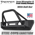 Jeep Wrangler JL Steel Front Bumper - Stubby With Bull Bar by Reaper Off Road