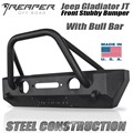 Jeep Gladiator JT Steel Front Bumper - Stubby With Bull Bar by Reaper Off Road