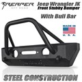 Jeep Wrangler JK Steel Front Bumper - Stubby With Bull Bar by Reaper Off Road