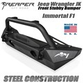 2013-2018 Jeep Wrangler JK Steel Front Bumper - Immortal F1 Stubby With Bull Bar by Reaper Off Road