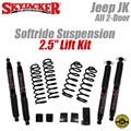 "Jeep Wrangler JK 2-Door 2-2.5"" Softride Coil Spring Lift Kit with Black MAX 7000 Shocks by SkyJacker"