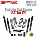 "Jeep Wrangler JK 4-Door 2.5"" Softride Coil Spring Lift Kit with Black MAX Shocks by SkyJacker"